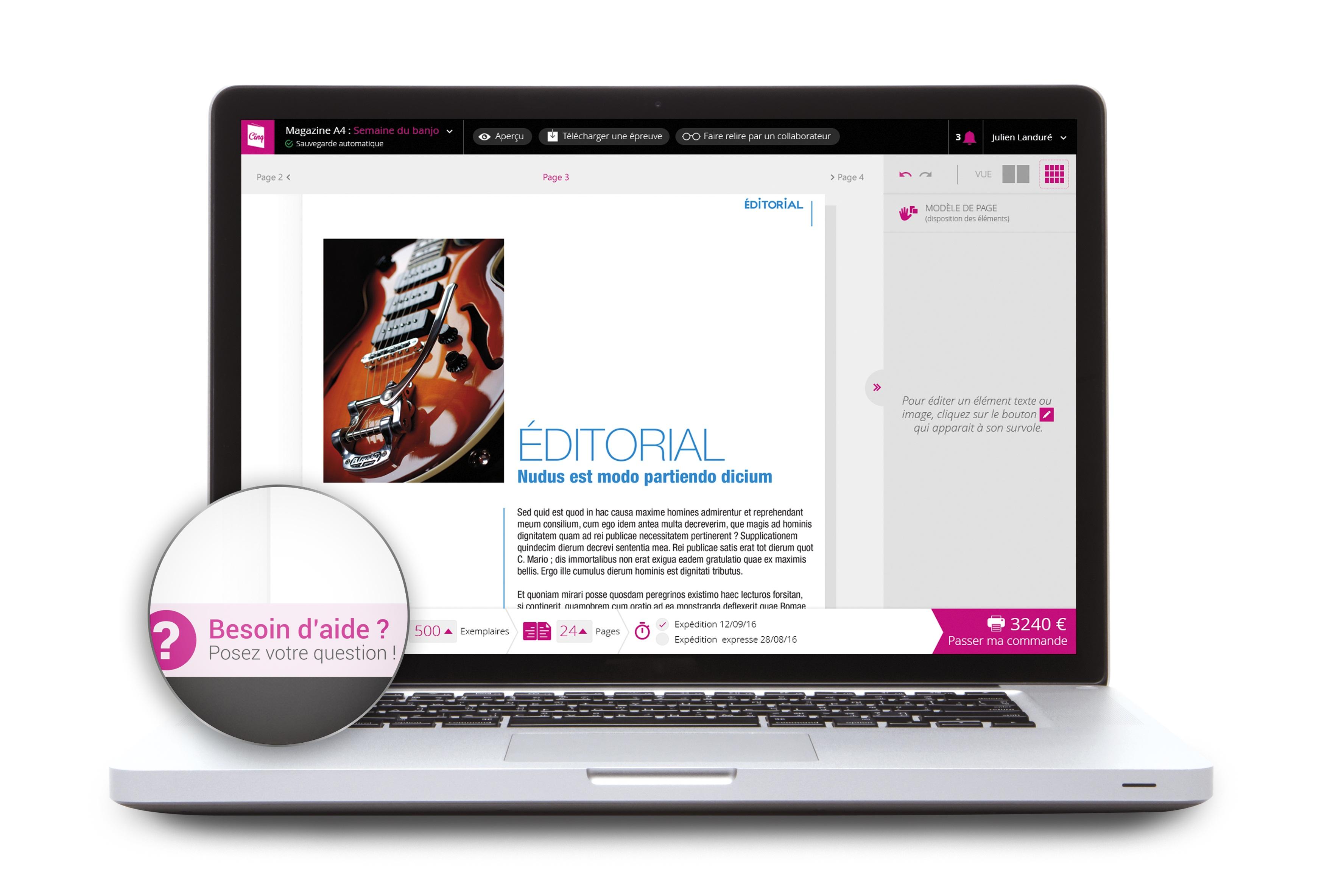 Cinquième de Couv solution made in France pour concevoir online des supports de communication