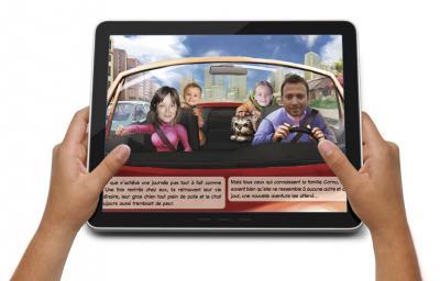 Zoom sur tablette avec ebook personnalisé