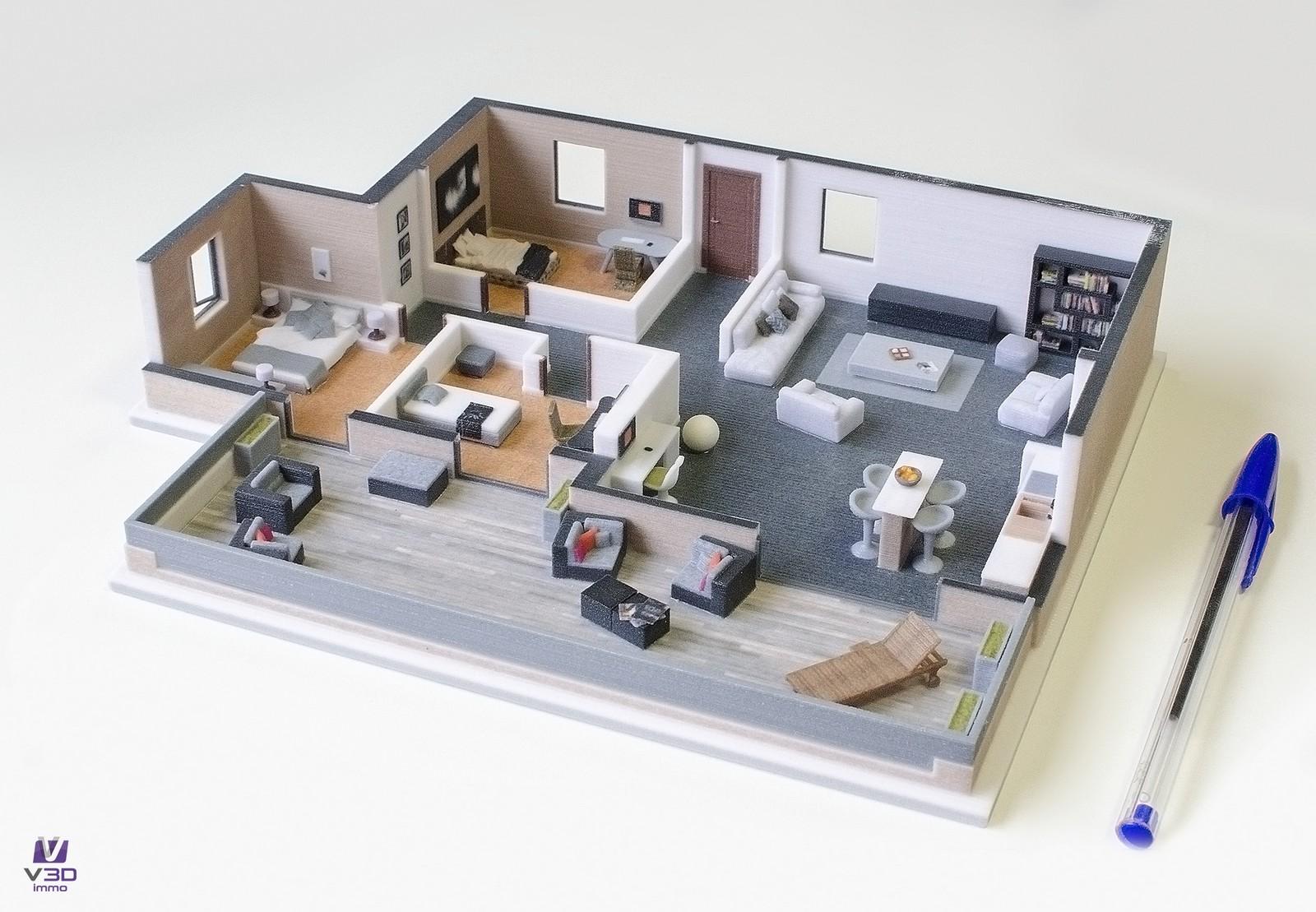 La maquette imprimée en 3D, un complément idéal au plan papier pour commercialiser des programmes immobilier VEFA