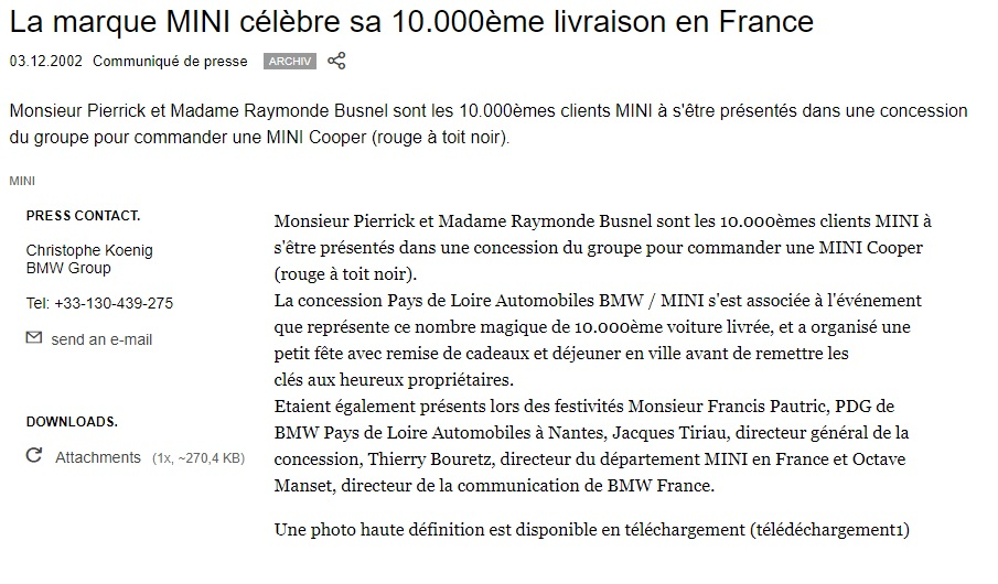 exemple communique de presse fusion acquisition bmw mini