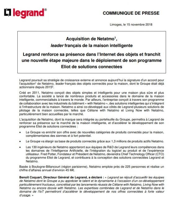 exemple communique acquisition Legrand fusion acquisition