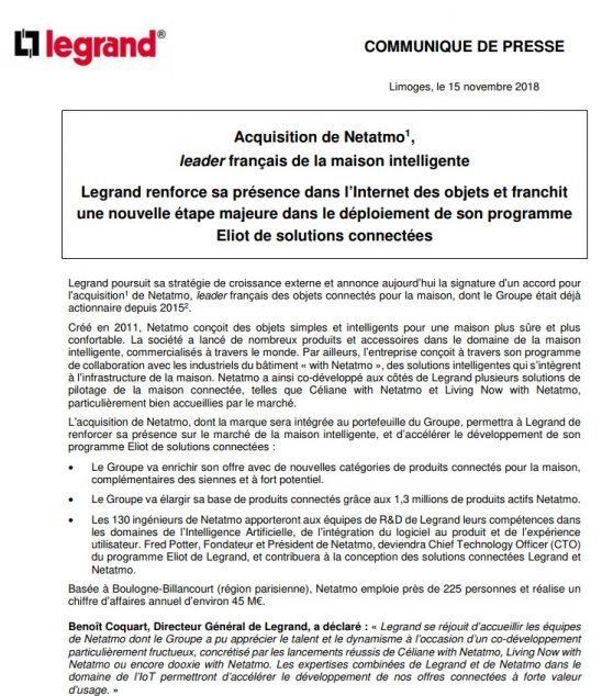 exemple communique acquisition Legrand fusion acquisition
