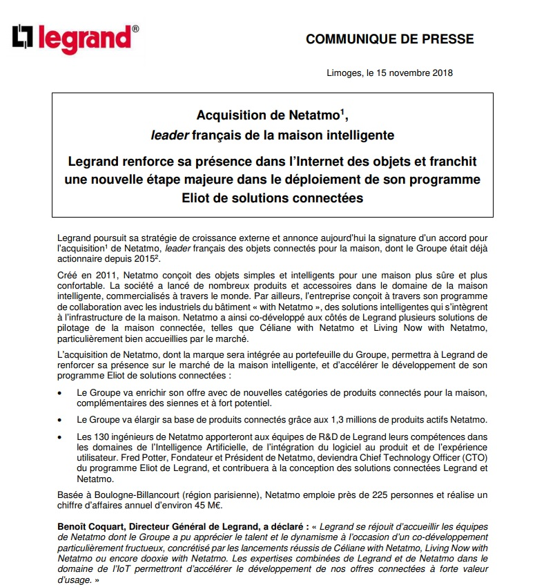 exemples communiques de presse acquisition Legrand fusion acquisition