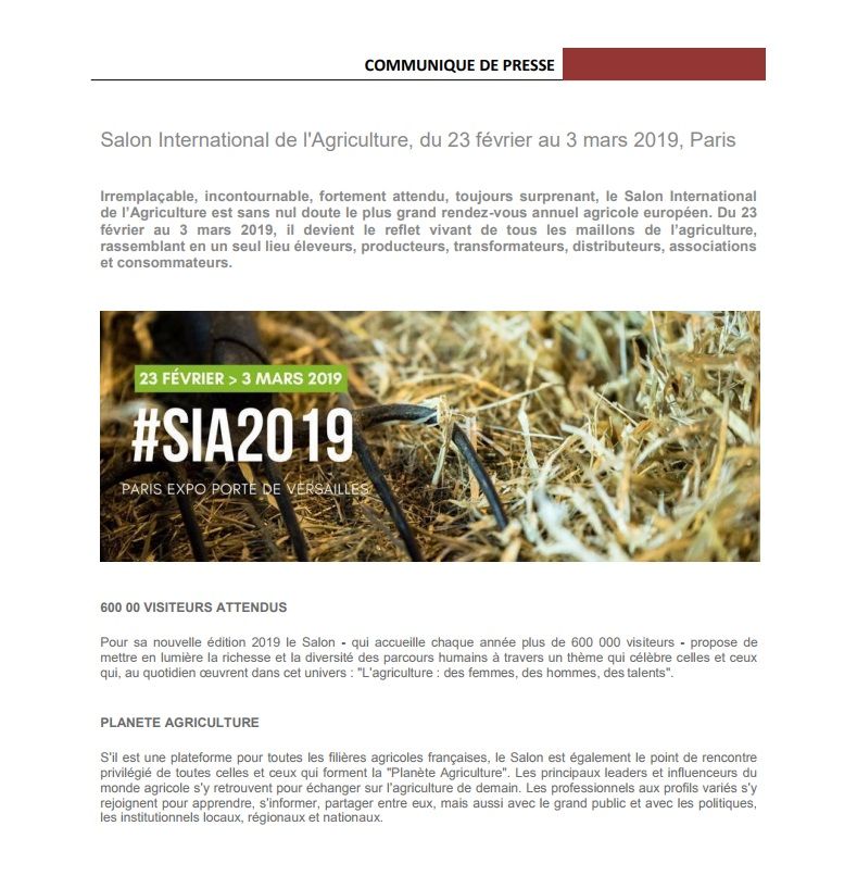 exemples communiqués de presse événement salon de l'agriculture