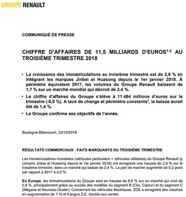 comunicado de prensa de Renault
